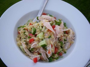 Lemony Orzo Veggie Salad with Chicken Recipe