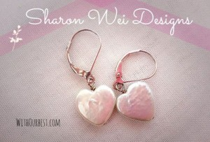Heart Shaped Pearl Earrings By Sharon Wei Designs
