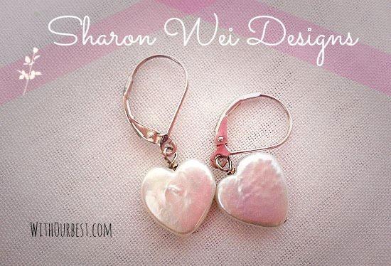 Heart Shaped Pearl Earrings By Sharon Wei Designs