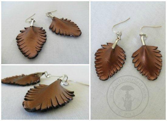 leaf earrings brown leather jewelry
