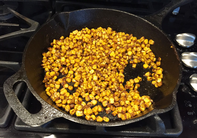 Roasted corn black bean salsa with tofu roasting corn on stovetop ccuart Images