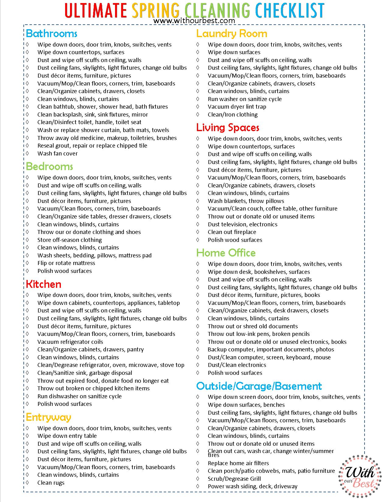 It is a picture of Dramatic Printable Spring Cleaning Checklist