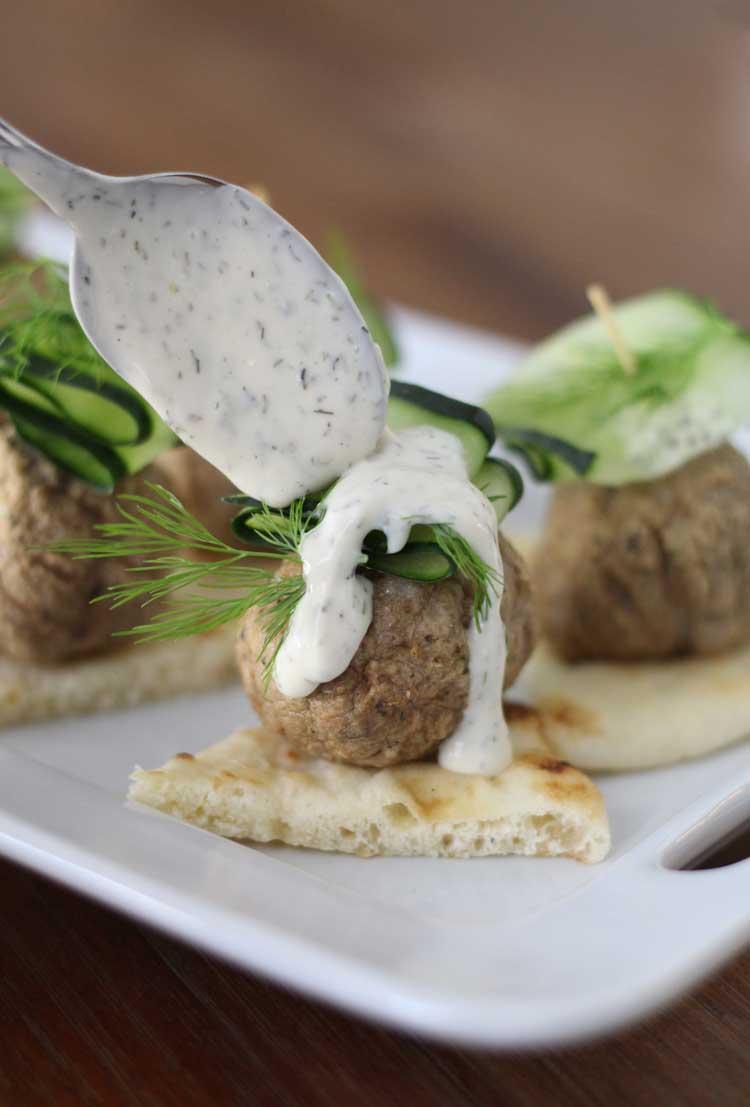 Greek Meatball Bites with Tzatziki Sauce Recipe